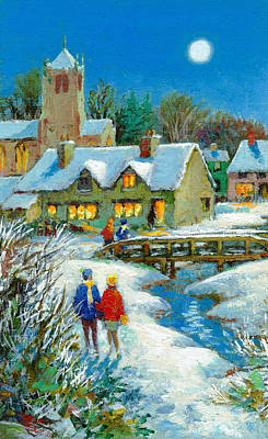 Man In The Moon Painting - The Village In Winter by Stanley Cooke
