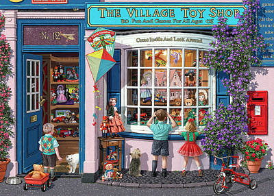 Toy Shop Painting - The Village Toy Shop by Steve Read