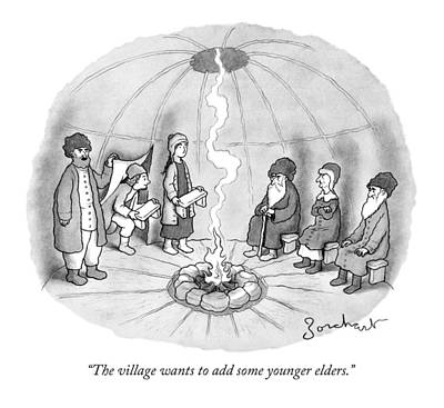 Hip Drawing - The Village Wants To Add Some Younger Elders by David Borchart