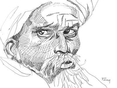 Drawing - The Villager by Parag Pendharkar