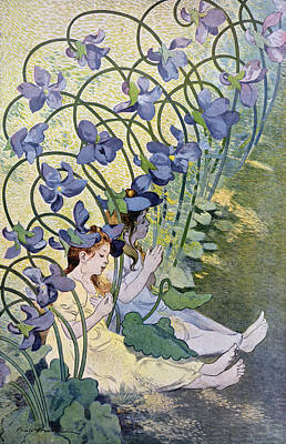 Art Nouveau Drawing - The Violets Lively Flowers by Firmin Bouisset