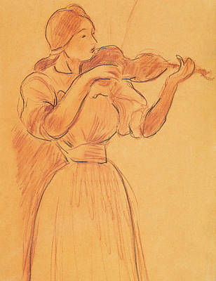 Fiddler Drawing - The Violin by Berthe Morisot
