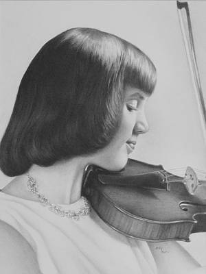 Drawing - The Violin Player by Becky West