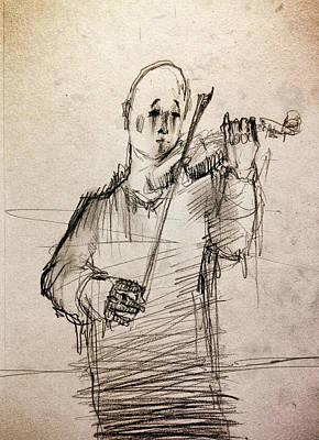 Clown Drawing - The Violinist by H James Hoff