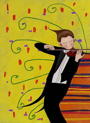 Violinist Digital Art - The Violinist by Wenyi Zhu