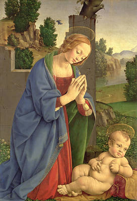 Adore Painting - The Virgin Adoring The Child by Lorenzo di Credi