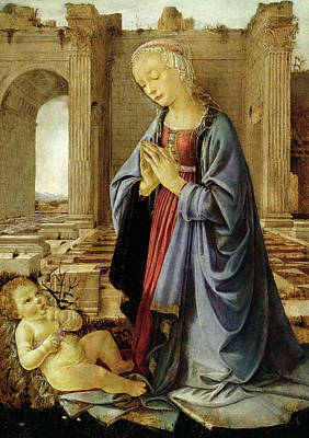 Adore Painting - The Virgin Adoring The Christ Child The Ruskin Madonna by Andrea del Verrocchio