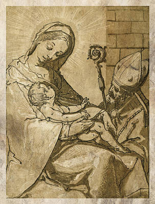 Protector Digital Art - The Virgin And Child by Aged Pixel