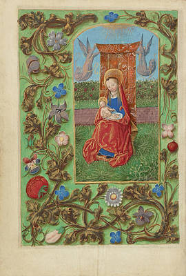 Prayer Drawing - The Virgin And Child Enthroned Master Of The Dresden Prayer by Litz Collection