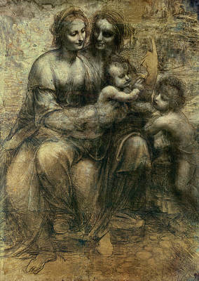 Jesus Drawing - The Virgin And Child  by Celestial Images