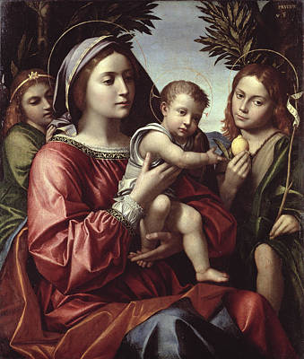 The Virgin And Child, Saint John The Baptist And An Angel Art Print by Paolo Morando