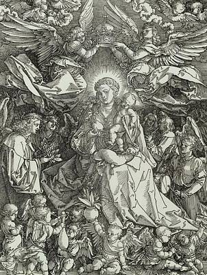 Child Jesus Painting - The Virgin And Child Surrounded By Angels by Albrecht Durer or Duerer