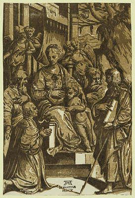 The Virgin And Child Surrounded By Saints And Kneeling Donor Print by Gandini, Alessandro. (xvi-xvii), Italian