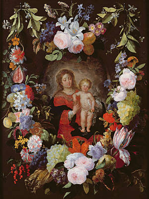 Grape Leaves Photograph - The Virgin And Child With A Garland Of Flowers Oil On Panel by Gerard Seghers