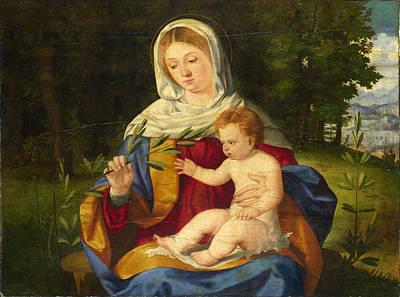 The Shoot Painting - The Virgin And Child With A Shoot Of Olive by Andrea Previtali