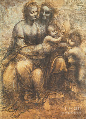 Smiling Drawing - The Virgin And Child With Saint Anne And The Infant Saint John The Baptist by Leonardo Da Vinci