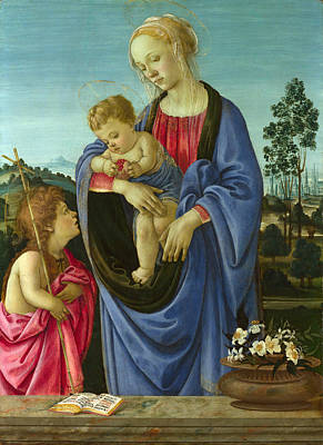 Religious Artist Painting - The Virgin And Child With Saint John by Filippino Lippi