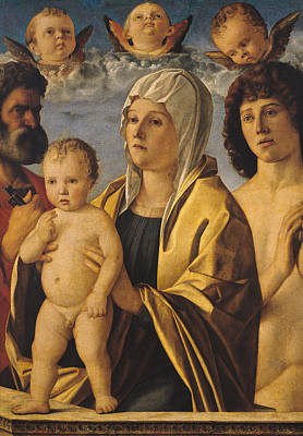 St Sebastian Painting - The Virgin And Child With St Peter And St Sebastian by Giovanni Bellini
