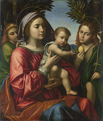 Religious Artist Painting - The Virgin And Child With The Baptist And An Angel by Paolo Morando