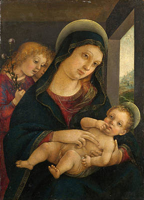 Verona Painting - The Virgin And Child With Two Angels by Liberale da Verona