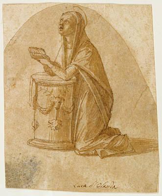 Wash Drawing - The Virgin Annunciate Lazzaro Bastiani, Italian by Litz Collection