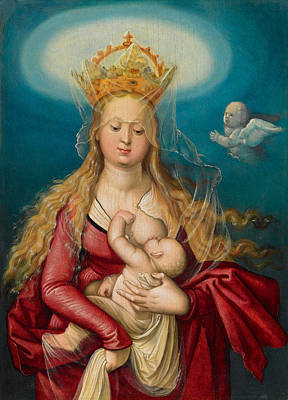 Suckling Painting - The Virgin As Queen Of Heaven Suckling The Infant Christ by Hans Baldung Grien
