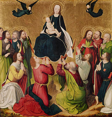 The Virgin In Glory With The Apostles, Central Panel Of A Triptych, Late 15th Century Panel Art Print