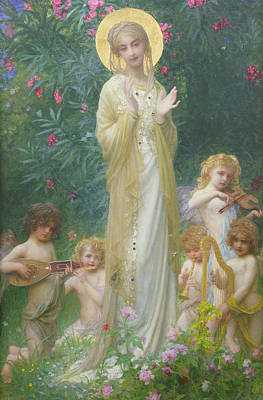 Harp Painting - The Virgin In Paradise by Antoine Auguste Ernest Herbert