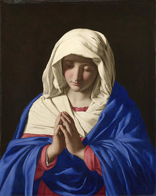Religious Artist Painting - The Virgin In Prayer by Sassoferrato