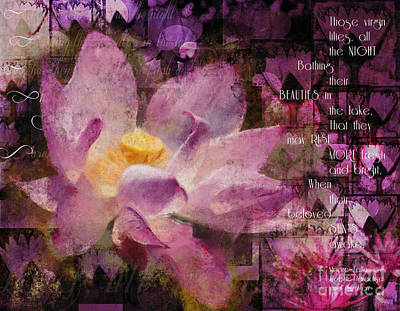 Digital Art - Those Virgin Lilies - Moore Quote  by Nola Lee Kelsey