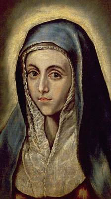Mannerism Painting - The Virgin Mary by El Greco Domenico Theotocopuli