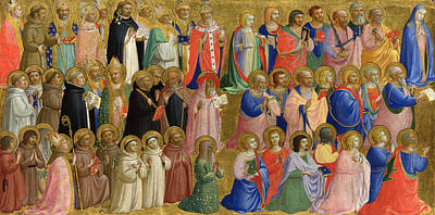 The Virgin Mary With The Apostles And Other Saints Art Print by Fra Angelico