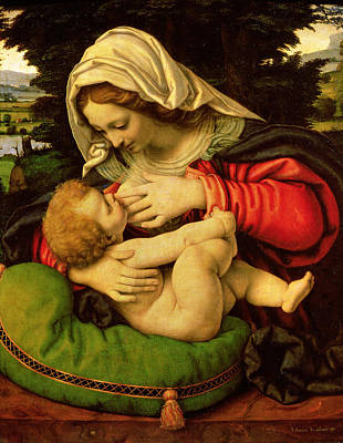 Religious Art Painting - The Virgin Of The Green Cushion by Andrea Solario