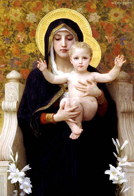 Digital Art - The Virgin Of The Lilies by William Bouguereau