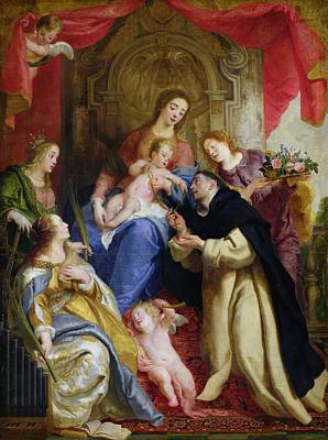 St Mary Painting - The Virgin Offering The Rosary To St. Dominic by Gaspar de Crayer