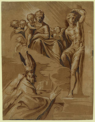 Religious Drawing - The Virgin, St. Sebastian And A Holy Bishop, Date Created by Carpi, Ugo Da (c.1480-1520/32), Italian