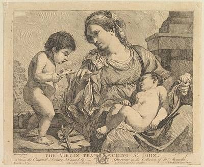 Giovanni Francesco Barbieri Drawing - The Virgin Teaching St. John by John Hamilton Mortimer