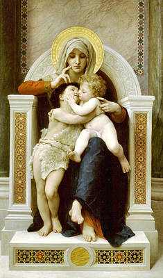 The Virgin The Baby Jesus And Saint John The Baptist Art Print by William Bouguereau