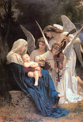 Violin Digital Art - The Virgin With Angels by William Bouguereau