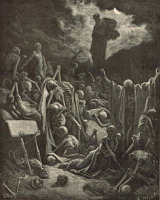 Death Valley Drawing - The Vision Of Ezekiel By Gustave Dore 1890 Engraving by Antique Engravings