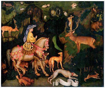 Horse In Forest Painting - The Vision Of Saint Eustace by Antonio Pisanello