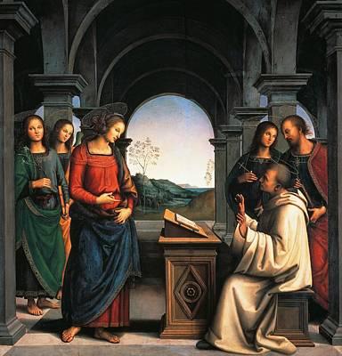 Desk Painting - The Vision Of St Bernard by Pietro Perugino