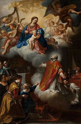 Priests Painting - The Vision Of St. Philip Neri, 1721 by Marco Benefial