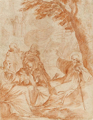 Preparatory Study Drawing - The Vision Of St. Romauld by Andrea Sacchi