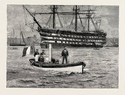 Foe Drawing - The Visit Of The French Fleet Foes No Longer French Sailors by English School