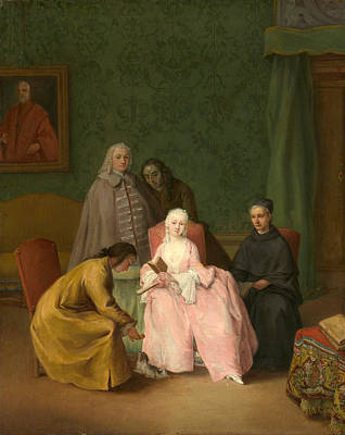 Longhi Painting - The Visit by Pietro Longhi