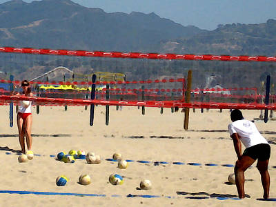 Santa Monica Digital Art - The Volleyball Lesson by Ronnie Caplan