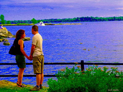 Summer Along The Canal Painting - The Vow Lovers Forever By The Lake Summer Romance St Lawrence Shoreline Scenes Carole Spandau Art by Carole Spandau