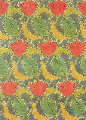 Red Line Drawing - The Voysey Birds by Voysey
