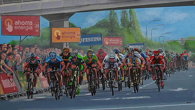 Bicycling Painting - The Vuelta by Paul Meijering